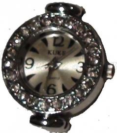 01480 Horloge bling Metaalkleurig/Chrystal  1 stuks