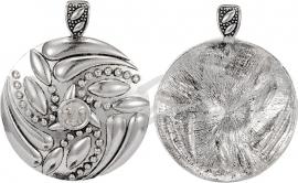 01185 Ronde hanger bling Antiek zilver / Chrystal 65mmx53mmx8mm 1 stuks