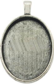 03232 Hanger cabochon setting Antiek zilver (Nikkelvrij) 38,5mmx24,5mmx5,5mm; binnenzijde 29mmx21,5mm 1 stuks