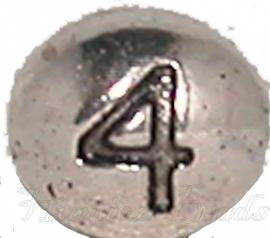 03170 Metalen kraal cijfer 4 Antiek zilver (Nickel vrij) 7mmx6mm; gat 1mm 1 stuks