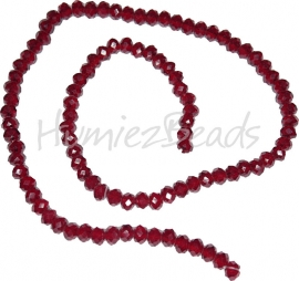 03981 Glaskraal imitatie swarovski faceted Abacus streng ±40cm Dark Red Coral 4mmx6mm  1 streng