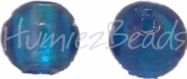 02923 Glaskraal zilverfoil rond Blauw 10mm