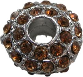 01851 Rondel Rhinestone Metaalkleurig / Topaz 8mmx16mm