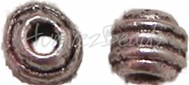 00320 Spacer rolletjes Antiek zilver (Nikkel vrij) 4,5mm; gat 2mm 20 stuks