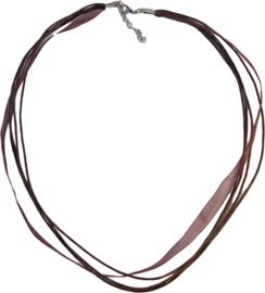 OL-0011 Organzalint met waxkoord Bruin 1 ketting