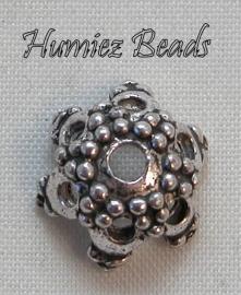 02474 Kralenkap hoogpotig Antiek zilver (Nikkelvrij) 12mm 6 stuks