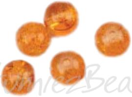 04206 Crackle kraal rond Oranje 8mm; gat 1mm ±20 stuks