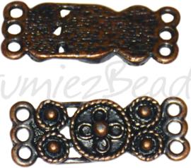 03102 Tussenstuk india Antiek koper (Nikkelvrij) 26mmx10mmx2mm; oog 2mm 4 stuks