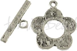 01542 Kapittelslot bloempje Antiek zilver (Nickel vrij) 25mmx20mm