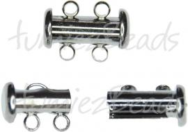 01183 Schuifslot 2-rings Zwart 15mmx7mm 1 stuks