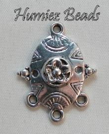 02489 Verdeler chandelier Antiek zilver 25mmx19mm 6 stuks