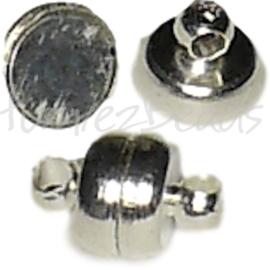 02169 Magneetslot rondel Zilverkleurig (Nikkel vrij) 11mmx7mm