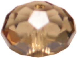 01580 Glaskraal imitatie swarovski Light Colorado Topaz ab 8mmx10mm 6 stuks