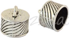 02401 Eindkap Antiek zilver (Nickel vrij) 16mmx16mm; gat 14mm 1 stuks