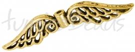 01676  Spacer vleugel  Antiek goud (Nickel vrij)  14mmx51mmx4mm; gat 2mm