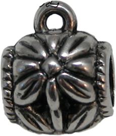 02037 Spacer met oog (metallook) Antiek zilver (nikkelvrij) 14mmx11mm 7 stuks