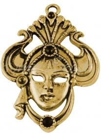 00416 Hanger Venetiaans masker Antiek goud (Nikkel vrij) 61mmx44mm 1 stuks