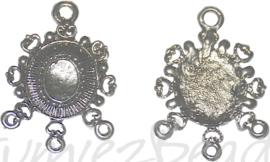 04162 Verdeler cabochon setting Antiek zilver (Nikkelvrij) 36mmx26mmx2mm; binnenzijde 10mmx8mm 4 stuks