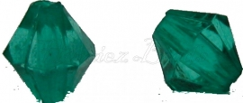 00720 Acryl kraal facet bicone donker groen 6mmx6mm 20gram