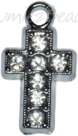 02234 Bedel bling kruis Metaalkleurig / chrystal 19mmx10mmx2mm 1 stuks