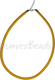 Silk-5011 Ketting Zijde koord Geel ±45cm (Zonder verlengketting) 1 stuks
