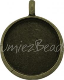 02392 Hanger cabochon setting Antiek brons (Nikkelvrij) 29mmx23mmx3mm; binnenzijde 18mm 1 stuks