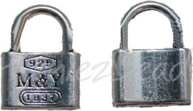00144 Bedel hangslot Antiek zilver (Nikkel vrij) 17mmx13mmx3mm 6 stuks