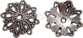 00736 Kralenkap bloem Antiek zilver (Nikkelvrij) 3,5mmx15mm 11 stuks