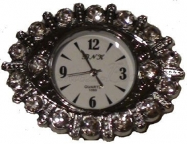 00516 Horloge bling Metaalkleurig/Chrystal  1 stuks