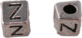 01178 Vierkante letterkraal Z Antiek zilver