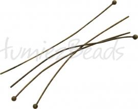 03714 Nietstift bal Antiek brons 50mmx0,6mm ±30 stuks
