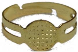 00134 Ring voor opplaksteen Goudkleurig Ringmaat 17mm; opplakstuk 9mm 1 stuks
