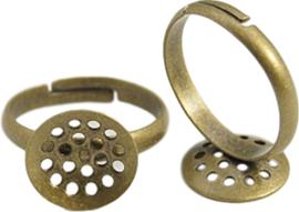 04423 Vingerring Zeef Antiek brons (Nikkelvrij) 17mmx3mm; tray 14mm 1 stuks