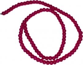 03559 Glaskraal crackle streng (±40cm) Hard roze 4mm; gat 1mm  1 streng