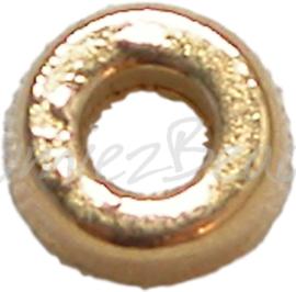00190 Spacer glad Antiek goud 6mmx2mm; gat 3mm 18 stuks