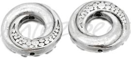 02071 Kralenframe donut Antiek zilver (Nikkelvrij) 15mmx4mm; gat 1mm ±25 stuks