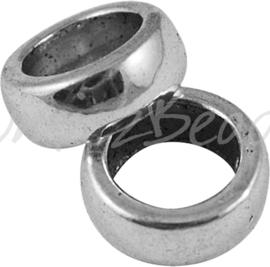 02630 Gesloten ring rondel Antiek zilver (Nickel vrij) 11mmx5mm; gat 7,5mm 6 stuks