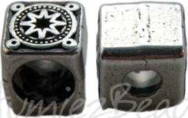 00934 Spacer vierkant ster Antiek zilver 3 stuks