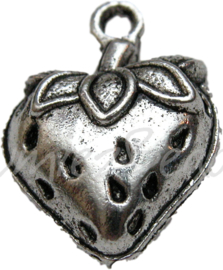 00208 Bedel aardbei Antiek zilver 20mmx14mm