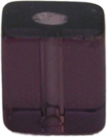 01935 Glaskraal vierkant Paars 6mm 14 stuks