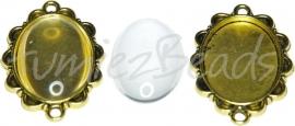 01619 Tussenzetsel met cabochon Antiek goud (Nickel vrij) / transparant 1 set