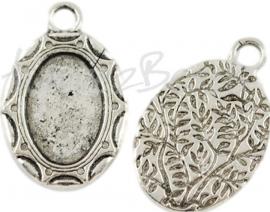 03273 Hanger cabochon setting Antiek zilver (Nickel vrij) 30mmx19mmx3mm; binnenzijde 17mmx12mm 1 stuks