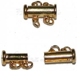 01521 Magneetschuifslot 2-rings Goudkleurig 15mmx7mm 1 stuks