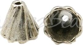 02187 Kralenkap hoog Antiek zilver (Nickel vrij) 13mmx12mm; gat 2mm 3 stuks