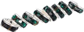 04400 Spacer rondel Rhinestone Zilverkleurig (Nikkel vrij)/emerald 7 stuks