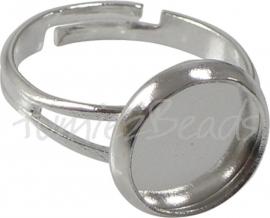 02185 Ring cabochonsetting Zilverkleurig Ringmaat 17mm; binnenzijde 12mm 1 stuks