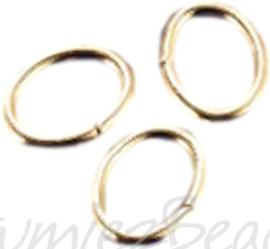 04118 Ringetjes ovaal Goudkleurig (Nikkelvrij) 5mmx7mmx0,7mm ±50 stuks