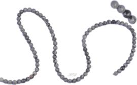 04089 Natuursteen streng ±35cm Jasper grijs/zwart 4mm; gat 1mm 1 streng
