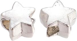00948 Metalen kraal Ster Antiek zilver (Nikkelvrij) 11x10x7mm; gat 4,5mm 3 stuks