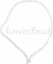 03568 Glaskraal streng (±40cm) crackle Transparant 4mm 1 streng